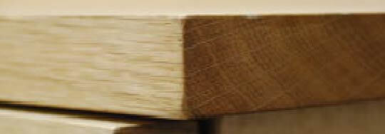 無垢材の天板小口部分